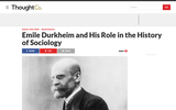 Emile Durkheim and His Role in the History of Sociology