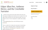 Edgar Allan Poe, Ambrose Bierce, and the Unreliable Narrator
