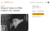 """Pioneer Values in Willa Cather's """"My Antonia"""""""