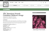"Allo, Monsieur! French Canadian Children""™s Songs  A Smithsonian Folkways Lesson"