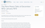 The Paris Peace Talks of December 1972-January 1973