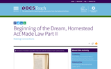 Beginning of the Dream, Homestead Act Made Law Part 2