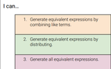 Equivalent Expressions Learning Plan for 6th Grade