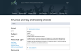 Financial Literacy and Making Choices