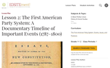 Lesson 2: The First American Party System: A Documentary Timeline of Important Events (1787-1800)
