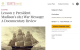 Lesson 2: President Madison's 1812 War Message: A Documentary Review