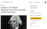 Lesson 1: President Madison's 1812 War Message: A Brief Overview