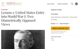 Lesson 1: United States Entry into World War I: Two Diametrically Opposed Views