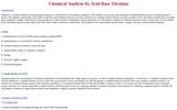 Chemical Analysis by Acid-Base Titration