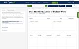 Data Sheet for Analysis of Student Work
