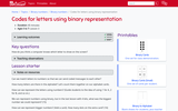 Codes for letters using binary representation (Ages 5 to 7)
